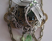 Emerald Green Dragonfly Steampunk Necklace