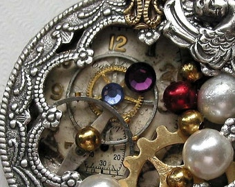 Many Pearls Steampunk Inspired Necklace