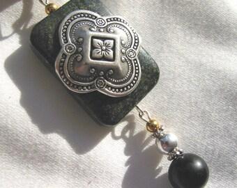 Victorian Steampunk Seraphinite Stone Necklace with Silver embellishment