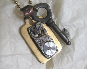 Steampunk Brass Tag Necklace with Vintage Key