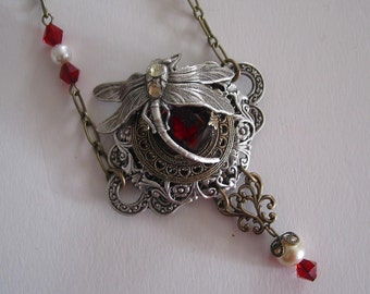 Red Crystal Dragonfly Steampunk Necklace