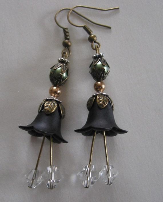 Vintage Style Long Black Flower Crystal and Pearl earrings