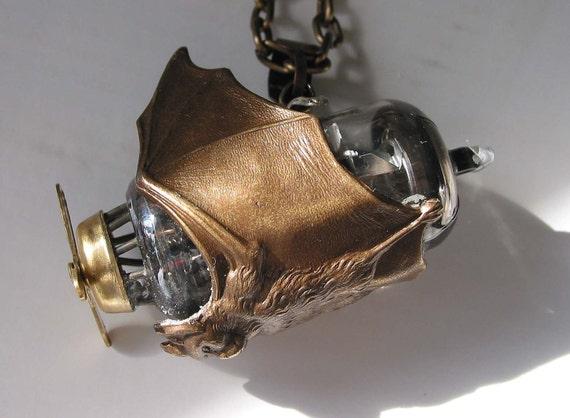 The Steampunk Sci-Fi Necklace The Chocolate Bronze Bat Airship