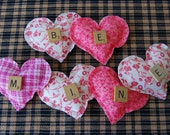 Valentine's Day Heart Garland, Pillows, Bowl Filler, Primitive, Shabby Chic, Folk, Country Decor