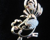 RESERVED - Vintage Crown TRIFARI Gold Plated Rhinestone Mother Goose Pin - Brooch
