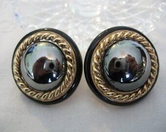 Vintage CINER Earrings - Ciner Black Faux Hematite & Enamel Earrings