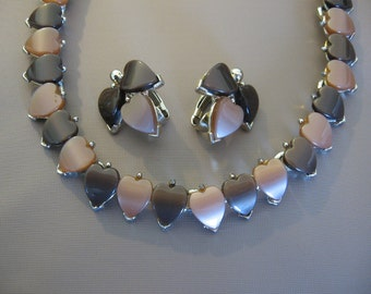 Vintage Chocolate Thermoset Necklace Earrings Set Light and Dark Chocolate Hearts