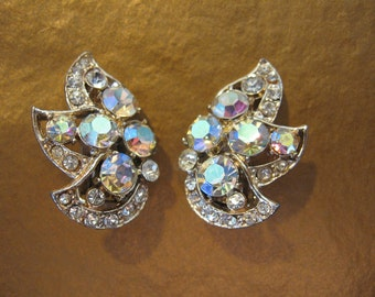 Vintage Ab and Clear Rhinestone Earrings