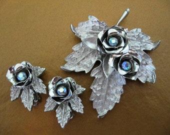 Vintage CORO Jewelry - Coro Ab Rhinestone Brooch and Earrings Set