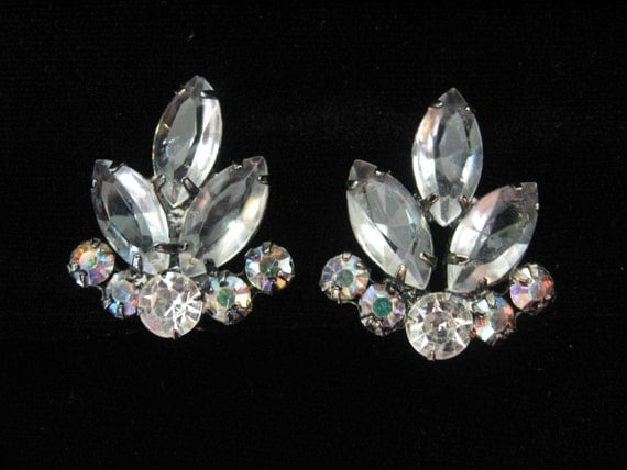 SALE - Vintage Clear and AB Rhinestone Earrings
