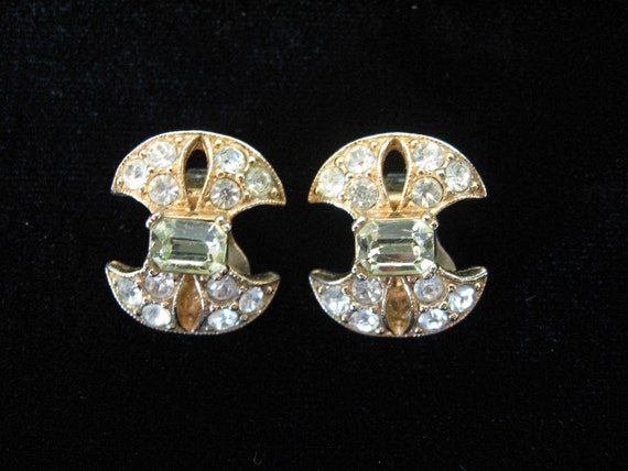 Sale - Vintage BOGOFF Earrings Jonquil and Clear Rhinestone