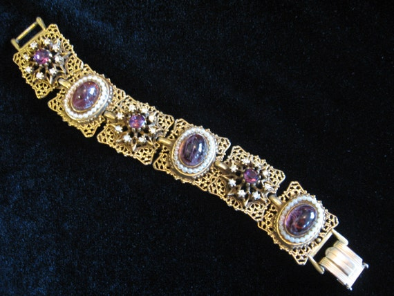 SALE 15% Off Vintage Signed ART Filigree Bracelet with Grape Swirl Glass Cabochon, Faux Pearls and Rhinestones
