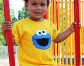 Boys COOKIE MONSTER Applique Tee...sweet tea for kids...Size 18mos, 2, 4, 6