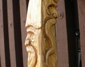 Hand carved wizard head basswood walking stick
