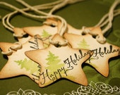Happy Holidays Vintage Style Star Shaped Tags Set of 6