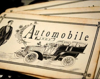 Automobile Post Card Style Paper Scrapbooking Set of 4