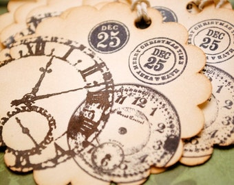 Christmas Time Clocks Vintage Style Set of 6 Holiday Tags