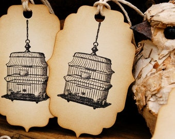 Dainty Hanging Birdcage Hand Stamped Vintage Style Tags Set of 6