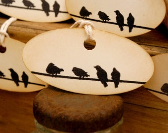 Bird on a Wire Vintage Style Hand Stamped Tags Set of 6