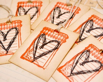 Cute Vintage Tags Argyle Scribble Heart Set of 6