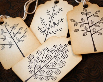 Winter Spring Summer and Fall Trees Handstamped Vintage Style Tags Set of 4