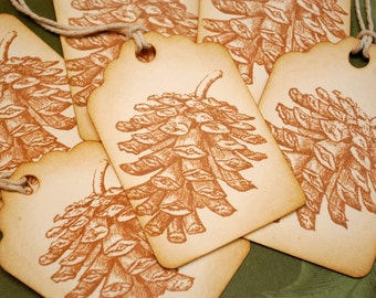 Pine Cone Sepia Toned Vintage Inspired Winter Holiday Tags Set of 6
