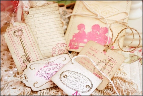 Shabby Chic Tags and Sewn Envelope Pink 6 Pieces