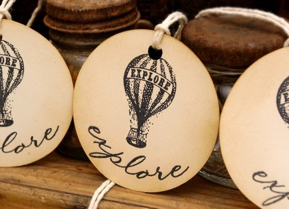 Vintage Hot Air Balloon Explore Hand Stamped Tags Set of 6