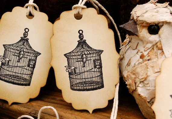 Beautiful Birdcage Vintage Style Hand Stamped Tags Set of 6