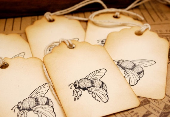 Bumble Bee Vintage Style Hand Stamped Tags Set of 6