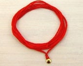 Wish Bracelet in Red with Silver or Gold Charm