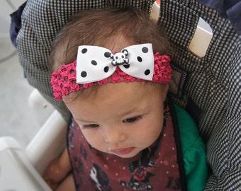Olivia Paige - Rockabilly punk rock polka skull infant/HEADBANDs