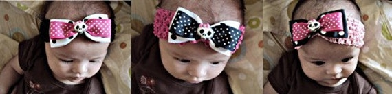 Olivia Paige - Rockabilly punk rock polka skull infant/HEADBANDs