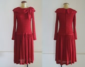 WoozWass Vintage 1960s Japanese Cherry Red Full Lace Body Con Mini Dress Size S-M