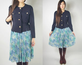 WoozWass Vintage Japanese 1960s Navy Blue and Green Floral Faux 2-piece Dress set size M