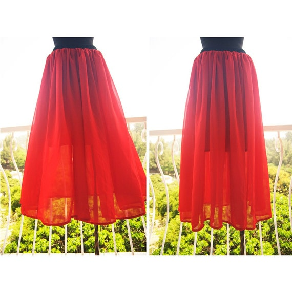 hand made Scarlet Red Chiffon Pleated Long Skirt by woozwass