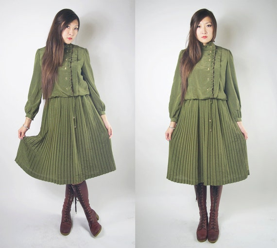 WoozWass Vintage 1960s Japanese Olive Green Victorian Style Dress,ruffles and puffy shoulder size S-M