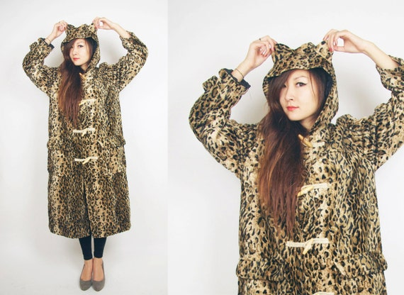 Reserved for Sehnaz--WoozWass Vintage Japanese 1970s Full length Leopard Animal Print Faux Fur Hooded duffle Trench coat Size M