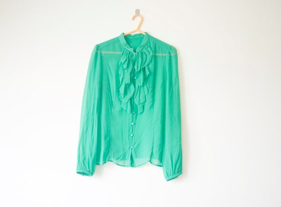 Reserved for Bo--WoozWass Vintage 1960s Teal Green Sheer Chiffon Blouse Jabot size S-M. 38