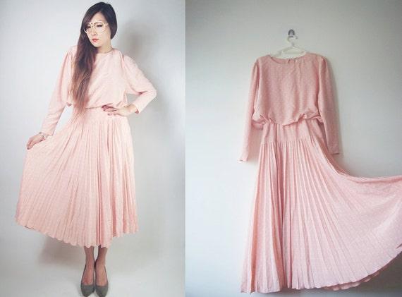 WoozWass Vintage 1970s Japanese Baby Pink polka dress batwing Pleated blouson dress