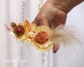 Vintage Style Hair Fascinator - Feather Headpiece - Orange Champagne Red  - Autumn Wedding