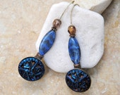 Vintage Royal Blue button Earrings with Glass beads, Vintage Jewelry