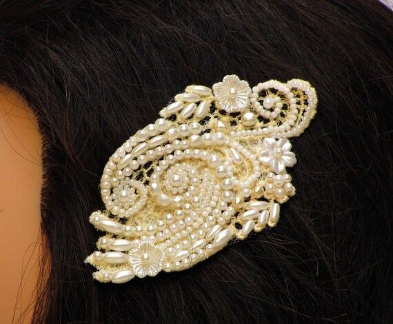Beaded lace headpiece pearl bridal hair piece wedding head piece pearl bridal headpiece vintage hair comb wedding hair piece bridal haircomb
