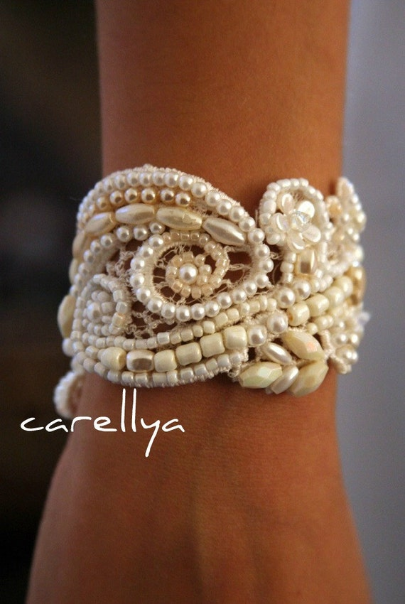 PEARL CUFF BRACELET Vintage Beaded Lace Bridal cuff Wedding Jewelry Hand Embroidered Pearl bridal jewelry vintage wedding pearl bracelet