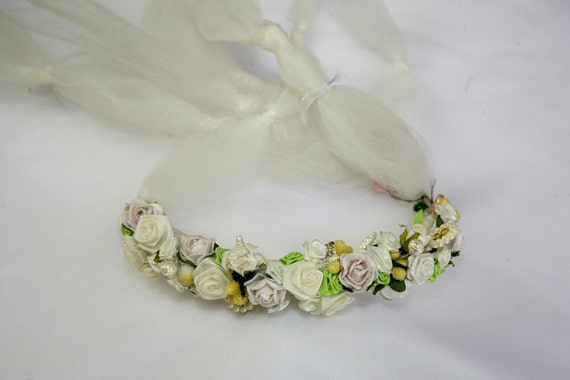 Bridal Flower Crown - Floral Head Wreath  - Roman Style