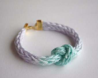 Pastel Ombre Knit Knot Bracelet Hand Dyed - Blue & Lilac Purple