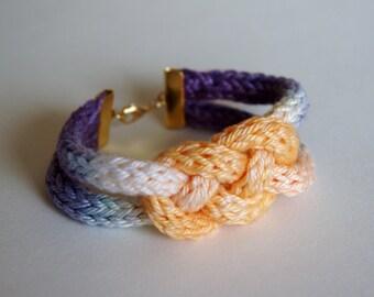 Hand Dyed Ombre Crochet Tube Knot Bracelet - Purple & Peach