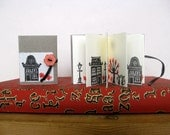 Spring in the city - hand stamped concertina book