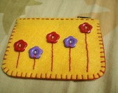 Buttons Felt Coin Purse - Yellow