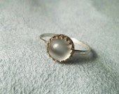 8mm Moonstone Cabochon on Hammered Sterling Silver Ring